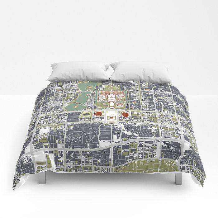 Beijing city map engraving Comforters