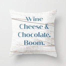 Wine Cheese & Chocolate Throw Pillow