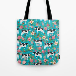 Holstein cattle farm animal cow floral Tote Bag