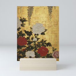 Vintage Japanese Floral Gold Leaf Screen With Wisteria and Peonies Mini Art Print