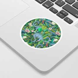 Improbable Botanical with Dinosaurs - dark green Sticker