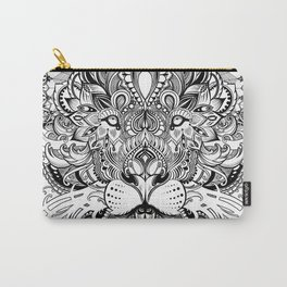 Black And White Geometric pattern mandala lion face Carry-All Pouch