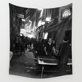 Golden triangle night life - Bordeaux Wall Tapestry