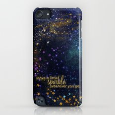 Leave a little sparkle wherever you go - gold glitter Typography on dark space backround iPod touch Slim Case