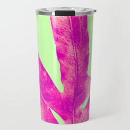 Bright Light Pink Fern on Green Travel Mug