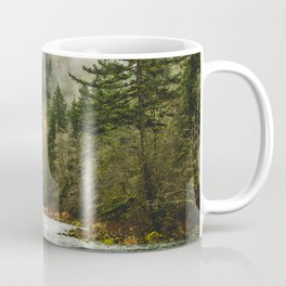 Wanderlust Forest River - Mountain Adventure in Foggy Woods Coffee Mug
