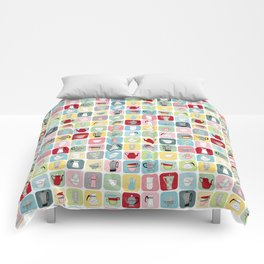 Retro Coffee Pots and Cups Pattern Comforters