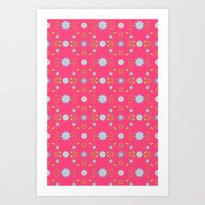 Daisies and Vines on rose Art Print