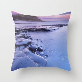 Sunset at Kimmeridge Bay in southern England Throw Pillow