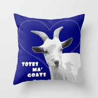 totes Throw Pillows featuring Totes Ma Goats - Blue by BACK to THE ROOTS