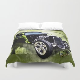 1934 Ford Three Window Coupe Hot Rod Duvet Cover