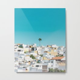 Urban Poster, Spain, Printable Photography, Architecture, Building, Palm Tree, Wall Art, Blue, White Metal Print