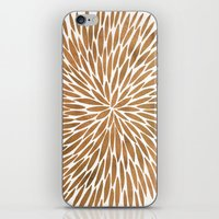 rose gold iPhone & iPod Skins featuring Rose Gold Burst by Cat Coquillette