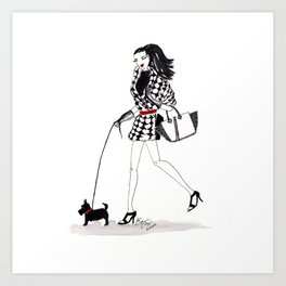 Houndstooth and a Scottie Watercolor Fashion Illustration Art Print