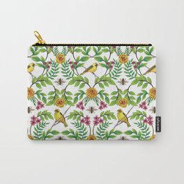 Summer Song - Yellow & Pink Floral Pattern with Birds & Bees Carry-All Pouch