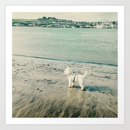 Westie and beach Art Print