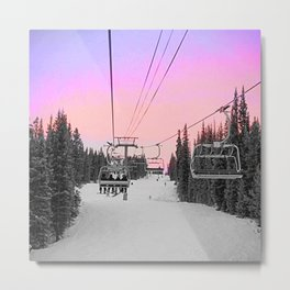 Ski Lift Sunset Shot on iPhone 4 Metal Print