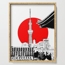 tokyo skytree red dot 1 Serving Tray