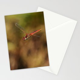 Red dragonfly flying Stationery Cards