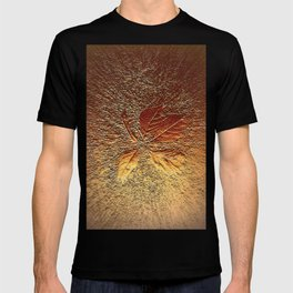 Rust glitter leaves in fall T-shirt