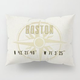 Boston - Vintage Map and Location Pillow Sham