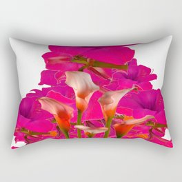 IVORY CALLA LILIES AGAINST FUCHSIA PURPLE FLORALS ART Rectangular Pillow