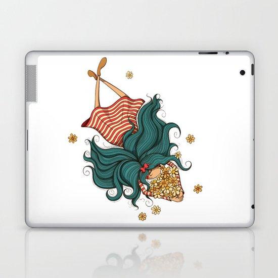 Girl and flowers Laptop & iPad Skin