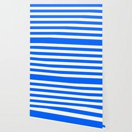 China Blue and White Medium Stripes Wallpaper