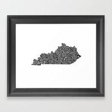 Typographic Kentucky Framed Art Print
