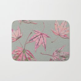 Japanese maple leaves - apricot on light khaki green Bath Mat