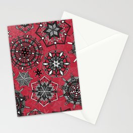mandala snowflakes red Stationery Cards