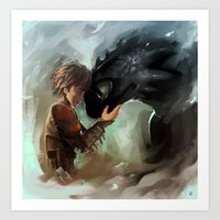 hiccup Art Prints featuring hiccup & toothless by AkiMao