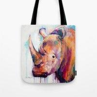 rhino Tote Bags featuring Rhino by Slaveika Aladjova