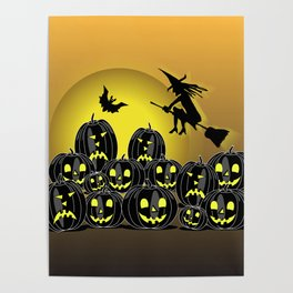Pumpkins and witch in front of a full moon Poster