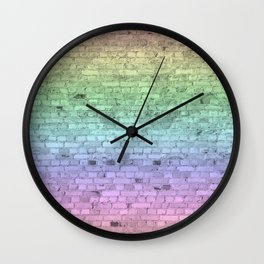 Light Pastel Ombre Shaded Rainbow Colors Brick Wall Wall Clock