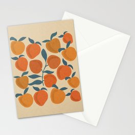 Peaches fruits with leaves mid century 4 Stationery Cards