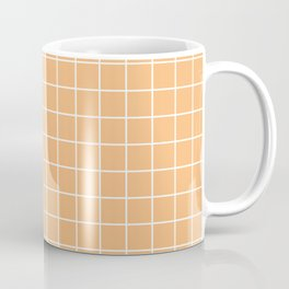 Mellow apricot - pink color - White Lines Grid Pattern Coffee Mug