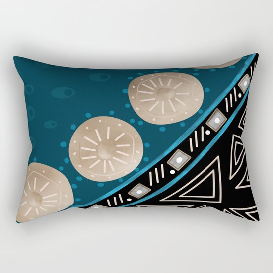 Abstract pattern Black and blue . Rectangular Pillow