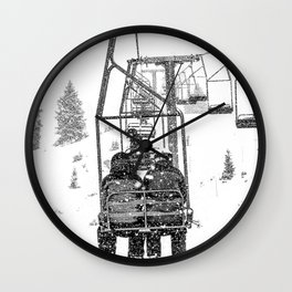 Snow Lift // Ski Chair Lift Colorado Mountains Black and White Snowboarding Vibes Photography Wall Clock