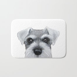 Schnauzer Grey&white, Dog illustration original painting print Bath Mat