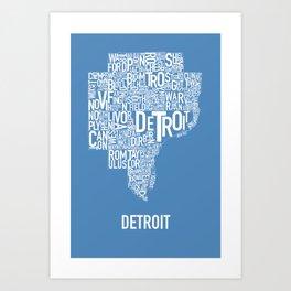 Detroit typography map poster - Blue Art Print