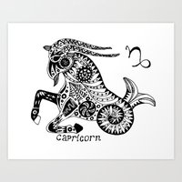 capricorn Art Prints featuring Capricorn by Anna Shell