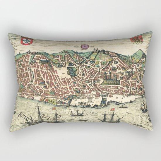 Lisbon map Rectangular Pillow