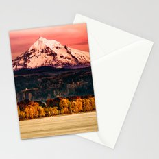 Mountains and Forest Water Sunset - Mt Hood Snow Mountain over the Columbia River Stationery Cards