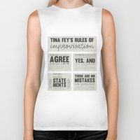 tina fey Biker Tanks featuring Tina Fey's Rules of Improvisation by lidia
