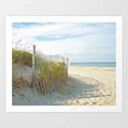 Sandy Beach, Ocean, and Dunes Art Print