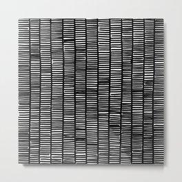 black and white weave pattern Metal Print