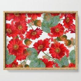 seamless   pattern of gerbera flowers . Endless texture Serving Tray