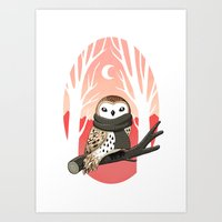 owl Art Prints featuring Winter Owl by Freeminds