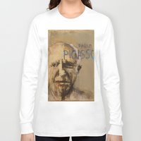 pablo picasso Long Sleeve T-shirts featuring 50 Artists: Pablo Picasso by Chad Beroth